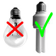 Standard vs energy saving bulb