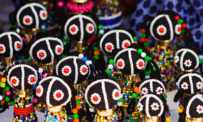 Traditional southern African dolls, crafted from colorful beads