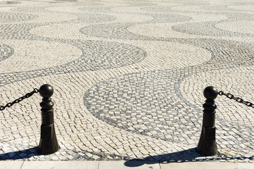 Details in cobblestone plaza