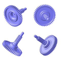 3D-model gear-shaft  isolated on white background. 2007.