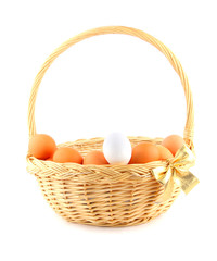 easter basket with a golden bow and multicolored chiken's eggs