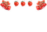 background of several cherry tomatoes on white card poster