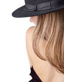 Undressing blond in the hat. poster
