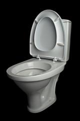white lavatory pan isolated on black background