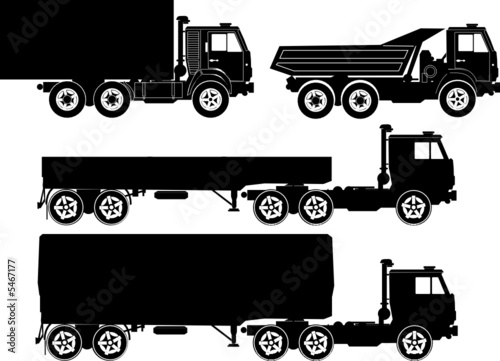 Set of vector truck illustrations.