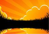 Cielo al tramonto poster