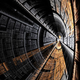 abstract resembling metal spaceship tunnel poster