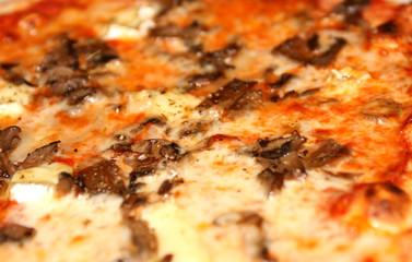 Macro su pizza ai funghi e brie