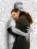 Fototapety woman hugging a man missing him love letter