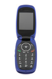 Modern blue clamshell cell phone on white background, font view. poster