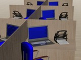 Office workplace. 3D image. poster