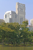 Modern office blocks with a lush tropical park in the foreground poster