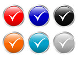 glossy buttons check symbol poster