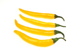 Yellow, extremely hot chili peppers - colorful cuisine objects poster