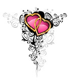 Hearts of love / vector .Hearts are made of gold and brilliants. poster