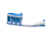 Toothbrush with toothpaste stripe poster