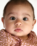 close up of a beautiful three month old hispanic baby girl poster