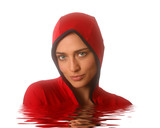 Lady in Red Hood Emerging from Water poster