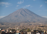 Misty Volcano view from Yanahuara distrit at Arequipa, Peru poster