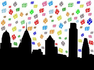 Philadelphia skyline with falling presents