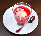 Cherry kissel (mousse) with vanilla ice-cream poster