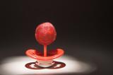 A lollipop pacifier, child dental care concept poster