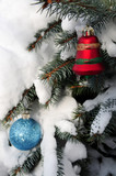 Christmas ornaments hanging on snow covered spruce tree outside poster