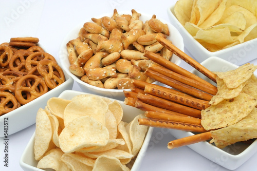 Snacks isolated on white