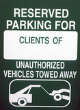 Image of a green reserved parking for clients only sign poster