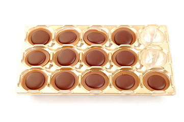 Chocolates on white background