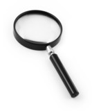 magnifying glass on white, minimal shadow underneath poster