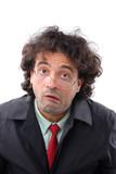 Man making a strange expression face . poster