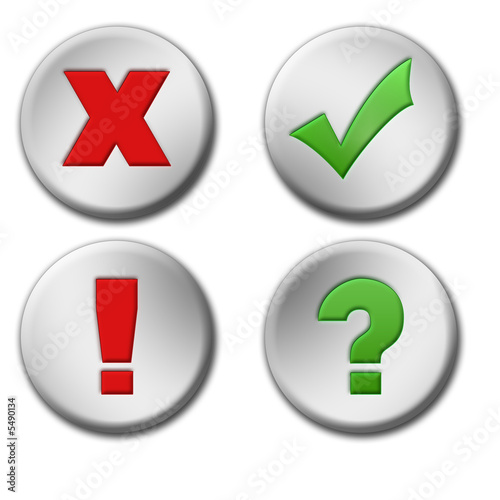 Cross, tick, exclamation and question buttons