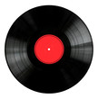 Leinwanddruck Bild - Vinyl 33rpm record with red label.  With clipping path.