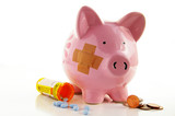 Bandaged piggy bank with pills and coins poster