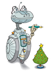 ROBOT BY CHRISTMAS TREE