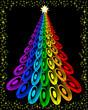 postal de arbol de navidad con las tonalidades del  arcoiris