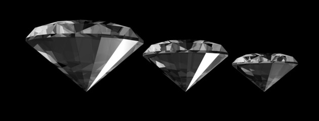 A 3d render of a diamonds isolated on a black background.