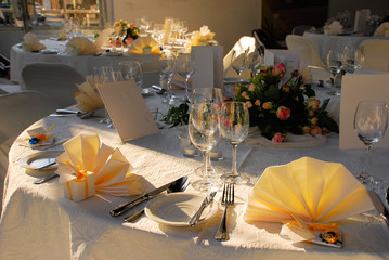 wedding table set for evening dinner