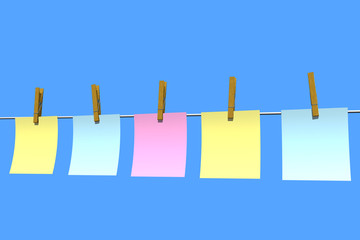 blank note papers in blue background