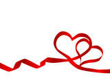 Fototapety red bow heart for valentines day and love