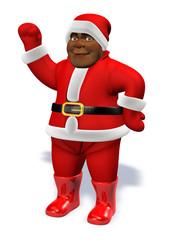 Blak afro Santa Claus hello