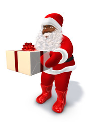 Afro Santa Claus deliver xmas present gift box