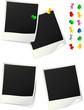 Photos polaroid avec punaises colorées