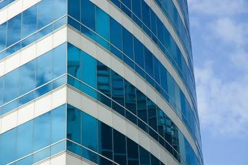 Blue skyscraper corner. Close-up