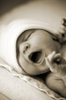 Desaturated picture of newborn baby