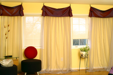 Interior of suburban house with draperies