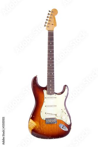 Poster e-guitar stratocaster type shot on white background