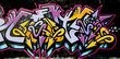 canvas print picture - grafitti tag yellow and purple