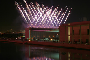 fireworks display on the portuguese pavillion at lisbon